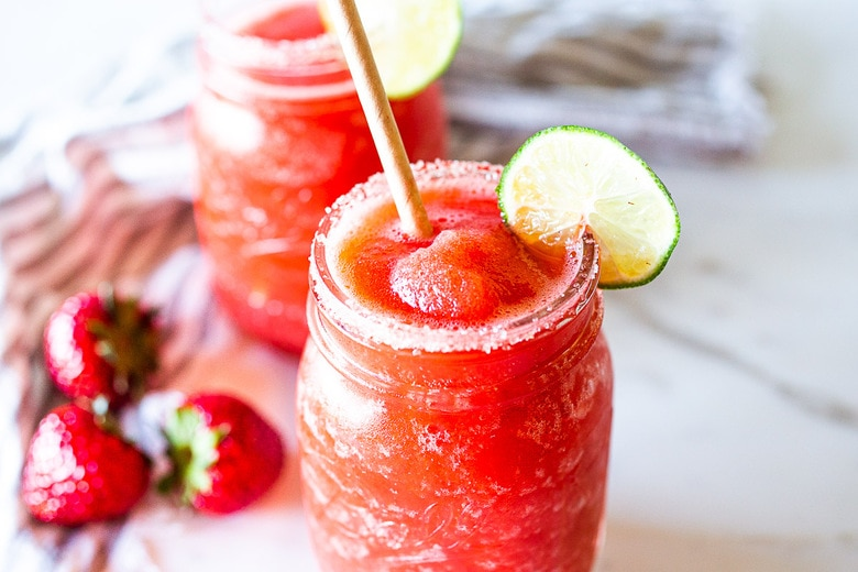 Fresh Frozen Strawberry Margarita Recipe Feasting At Home Feasting At Home