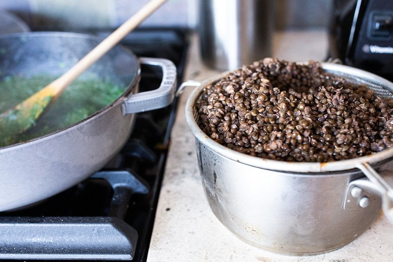 cooked black lentils