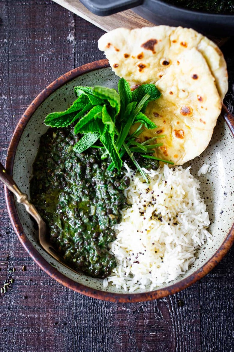 25 Tasty Lentil Recipes - that are not bland or boring! | A healthy recipe for Lentil Dal with Spinach, sometime called Saag Dal, this is bursting with authentic Indian flavors!