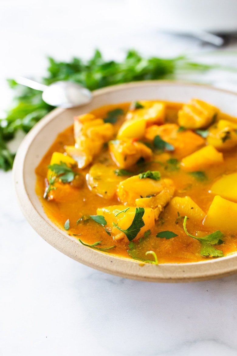 Here's a simple recipe for Portuguese Fish Stew (aka Caldeirada) that can be made with fish or shellfish in a fragrant yet simple, saffron broth, studded with potatoes. Rustic and light, this summer stew can be made in just 30 minutes! Serve with Rice or Crusty Bread!