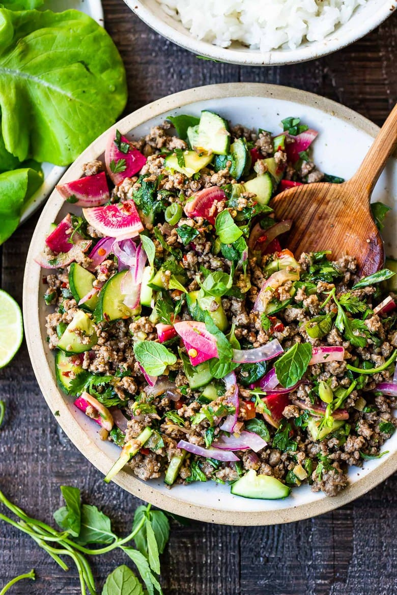 BEST Thai Recipes!||A flavorful recipe for Larb, a fresh Thai salad made with your choice of lamb, beef, pork, chicken or tofu. Low carb, fast and easy! #larb #thaifood #thaisalad
