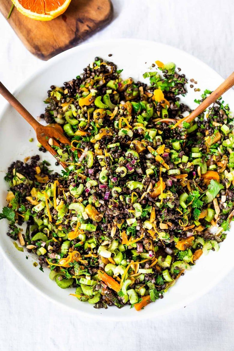 25 Tasty Lentil Recipes! | The BEST Lentil Salad infused with Moroccan Spices, this healthy vegan lentil salad can be made ahead and keeps for 4 days, perfect for healthy midweek lunches! #lentilsalad