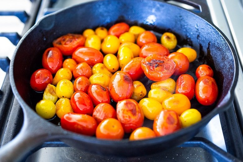 blistering tomatoes for risotto