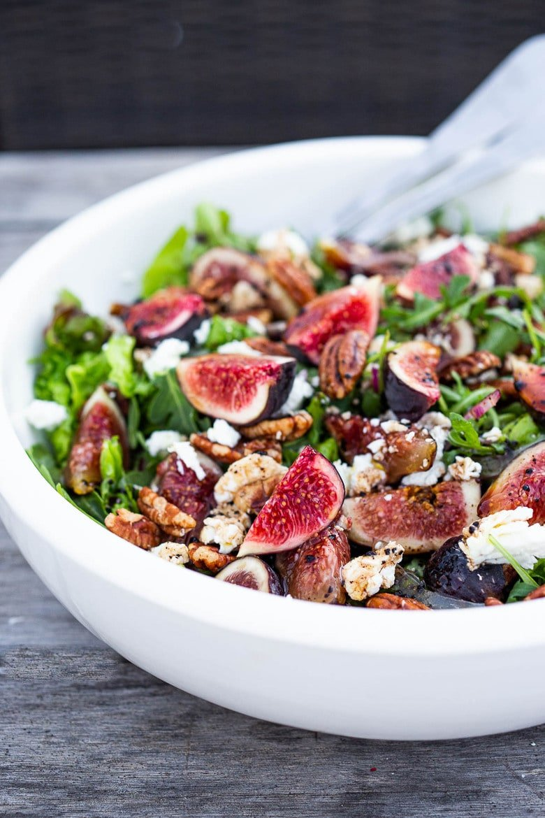 Here's one of our all-time favorite summer salads- Fig and Arugula Salad with Goat Cheese, Pecans and Basil tossed in a simple Balsamic Vinaigrette.