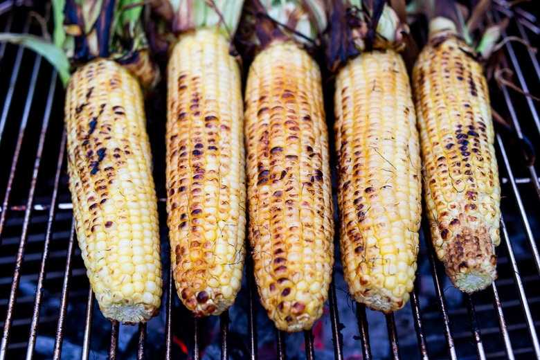 grilling corn all sides until deeply charred