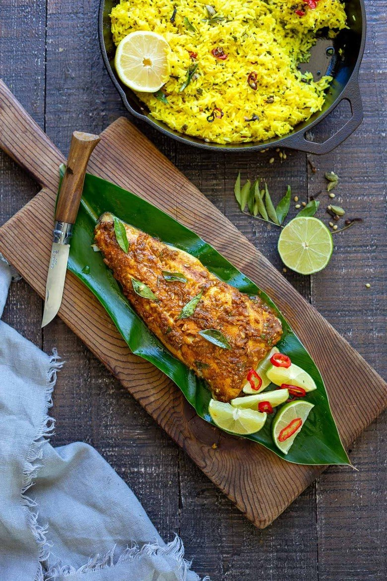 Kerala Fish served with lemon Rice