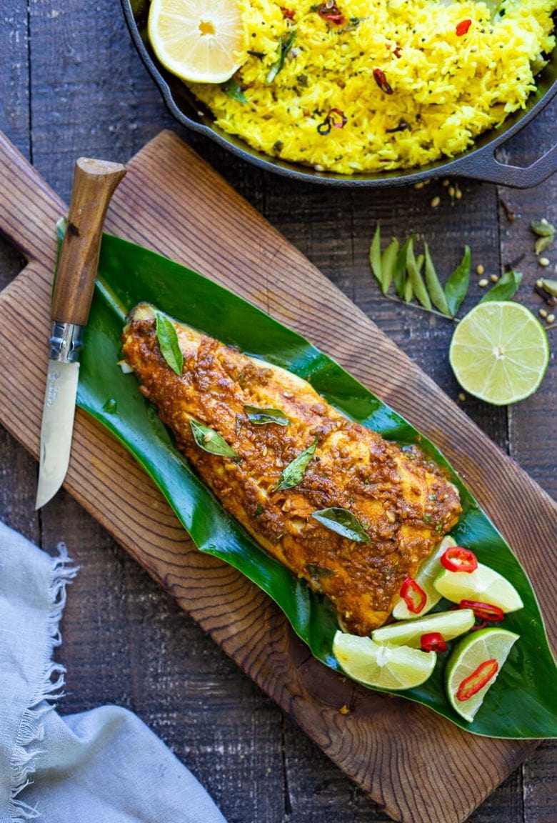 A recipe for Kerala Fish made with a flavorful paste that is either grilled or roasted in the oven. Curry leaves and Tamarind give this Indian Recipe its unique flavor.