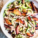This Plum Salad with Jicama and Cucumber is dressed with a flavorful Plum Shiso Shrub. Crunchy, refreshing and light it's deliciously cooling on and hot summer's day! Vegan and GF.
