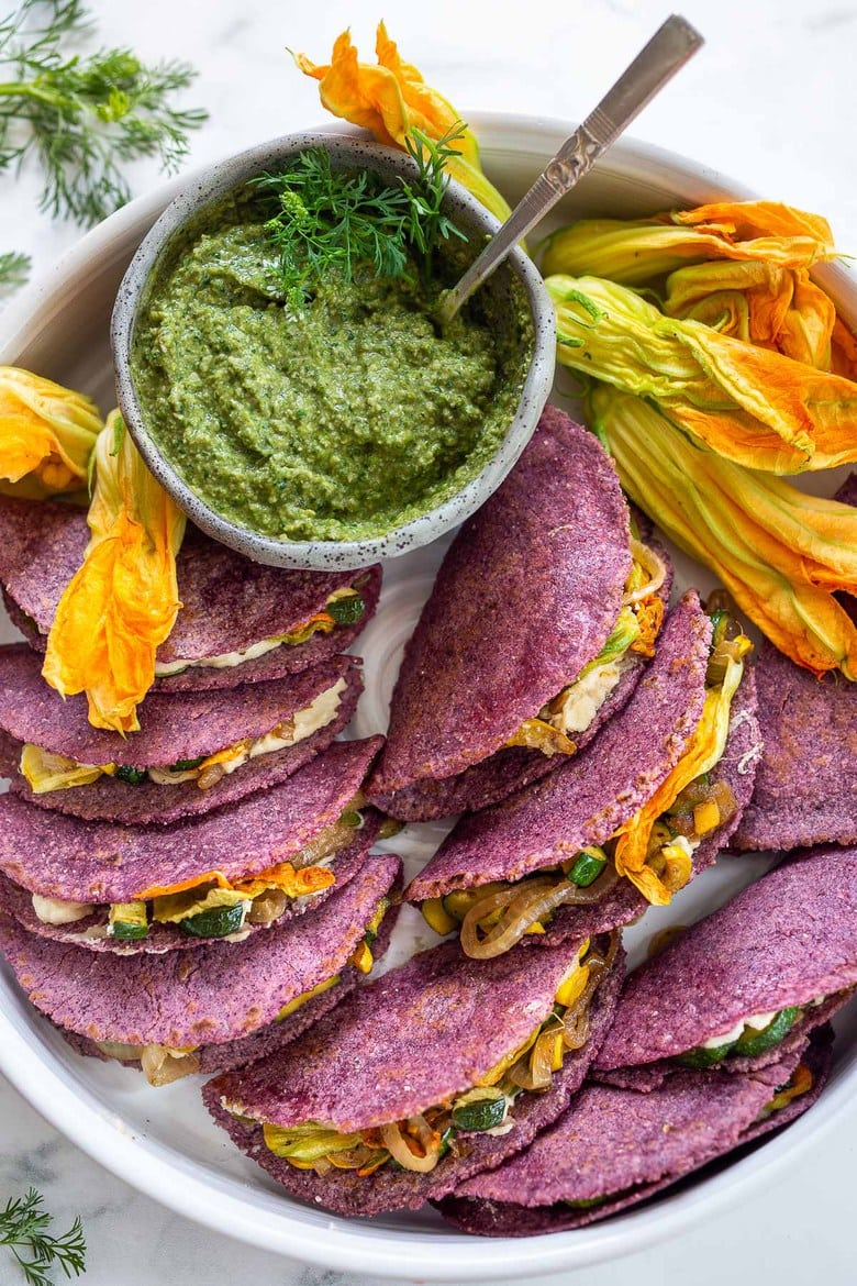 A tasty recipe for Zucchini Quesadillas with creamy cashew cheese and Poblano Pumpkin Seed Salsa. Vegan and delicious!