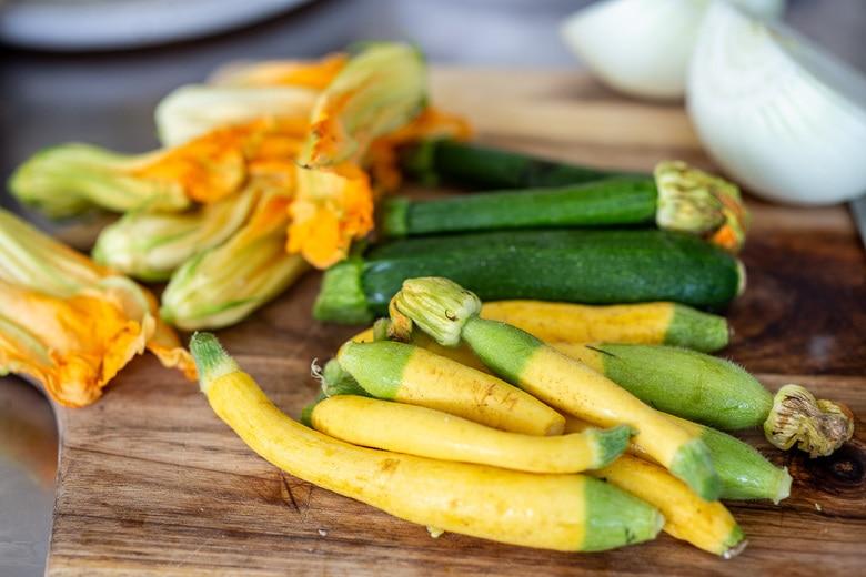 zucchini and zucchini blossoms for quesadillas