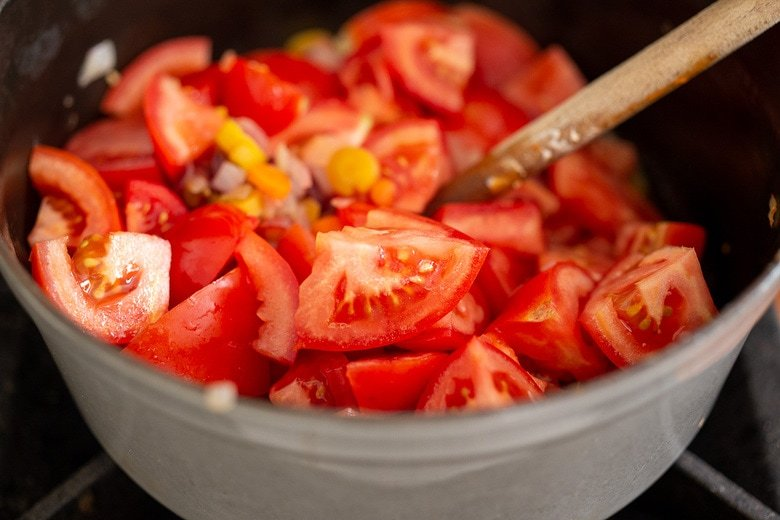 cooking tomatoes down for tomato soup