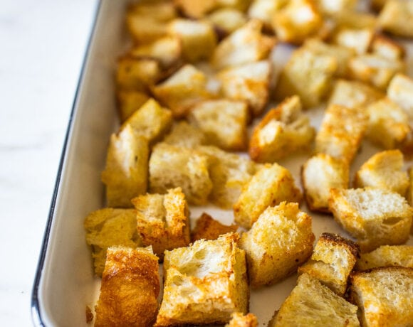 How to make EASY Homemade croutons - a great way to use up leftover sourdough bread! Baked, Vegan!