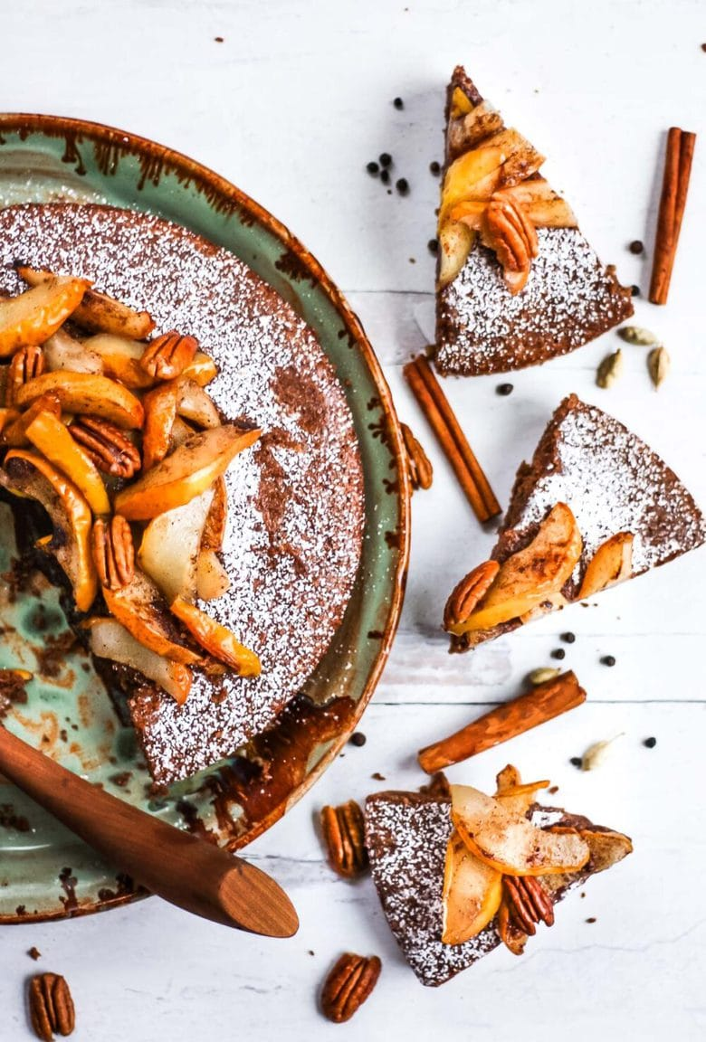Chai-Spiced Pecan Torte with Roasted Pears - a subtly sweet spiced flour-free cake using pecans as the base.  Perfect for holiday gatherings, brunch or afternoon tea. #torte #pecantorte