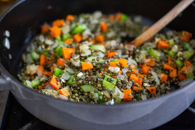 This recipe for Simple Braised French Lentils is nourishing and comforting and a delicious healthy side dish that pairs well with so many things! Leftovers can be frozen, or turned into a salad! #lentils #Frenchlentils #lentilrecipes