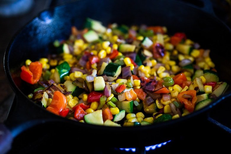 veggie filling for Mexican sweet potatoes
