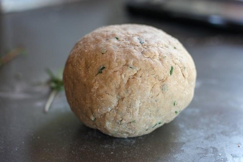 a ball of sourdough cracker dough