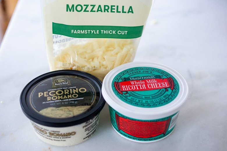 the cheeses to use in eggplant lasagna -ricotta, mozzarella pecorino