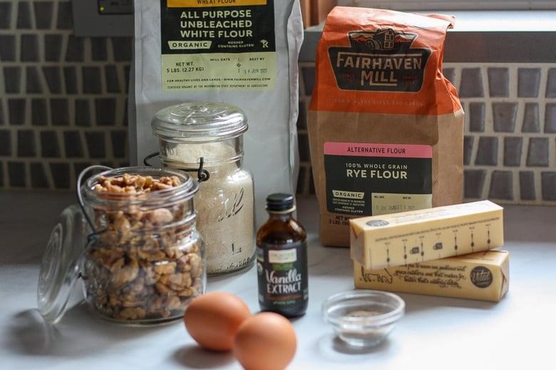 ingredients in thumbprint cookies