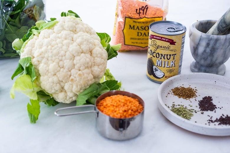 cauliflower dal ingredeints