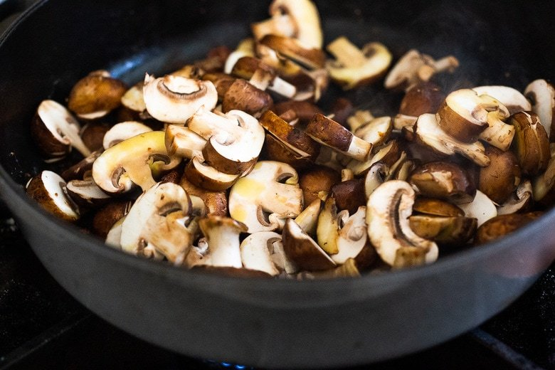 sautéing the mushrooms