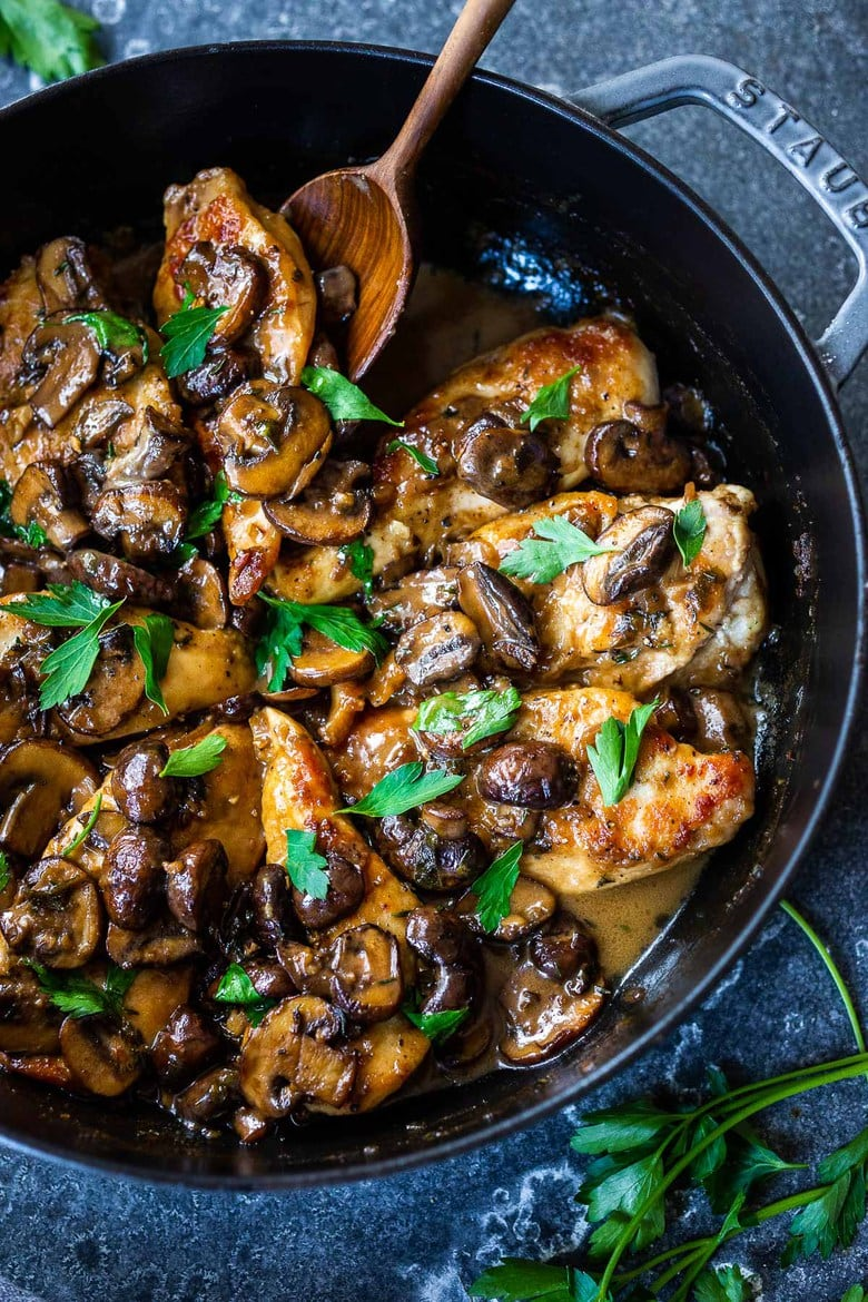 30 Comfort Food Recipes for Fall! How to make classic Chicken Marsala (with double the mushrooms!) in a rich, earthy, complex Marsala Sauce. Serve over creamy polenta, mashed potatoes or mashed caulifloweror roasted spaghetti Squash! (Vegetarian Adaptable-see recipe notes!)