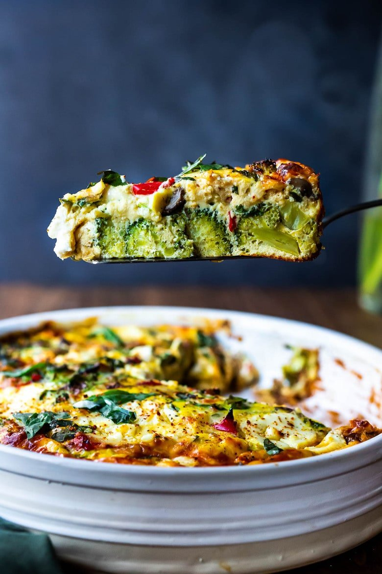 """This delicious Frittata is baked in the oven and full of healthy vegetables. It's versatile, easy and can be made ahead - perfect for a speical breakfast or brunch. Or serve it up for lunch or dinner as a """"crustless quiche"""" - a simple clean-out-the fridge kind of meal. Vegetarian, Keto, Gluten-free, and low-carb."""