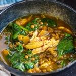 Moroccan Chicken Lentil Soup with Preserved Lemon and Saffron Broth