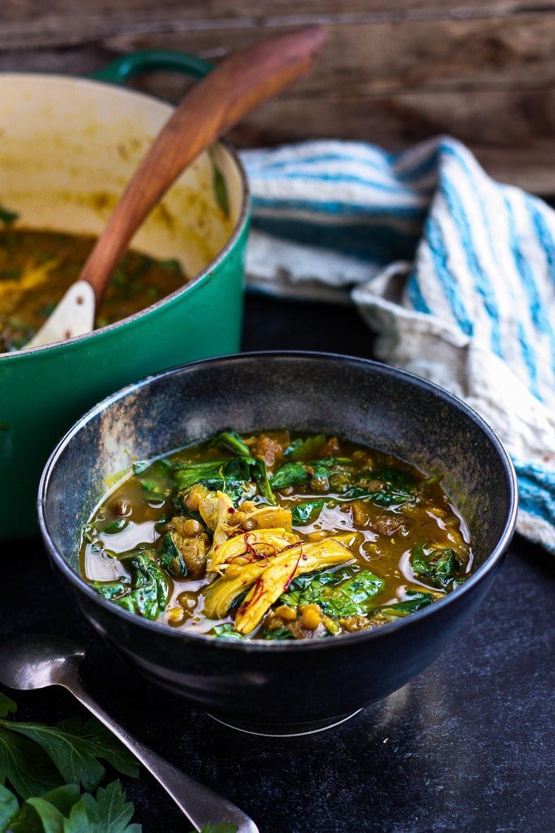Moroccan Chicken Lentil Soup withPreserved lemon, spinach and Saffron Broth