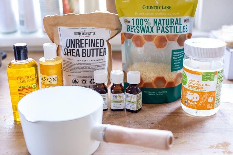 Ingredients to make body balm