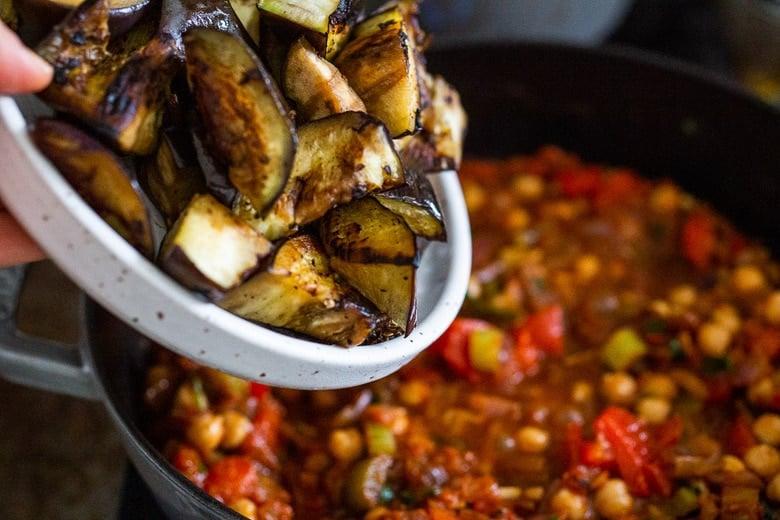 Nestle in the eggplant