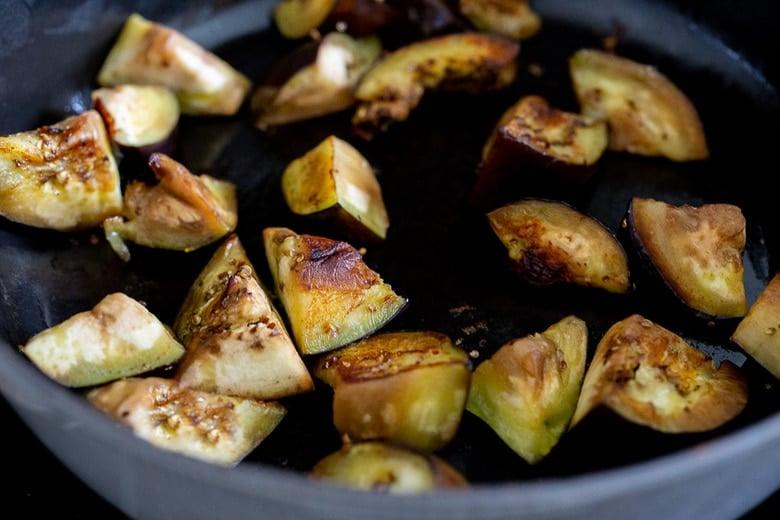 begin pan searing the eggplant.