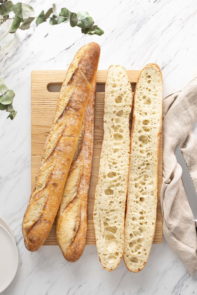 How to make Sourdough Baguettes! This sourdough baguette is everything you want in the French classic--a crunchy crust, an open, airy crumb, and lots and lots of flavor. And it's easier to make than you think! Eat it plain, slathered in butter, or serve it with your favorite soup.
