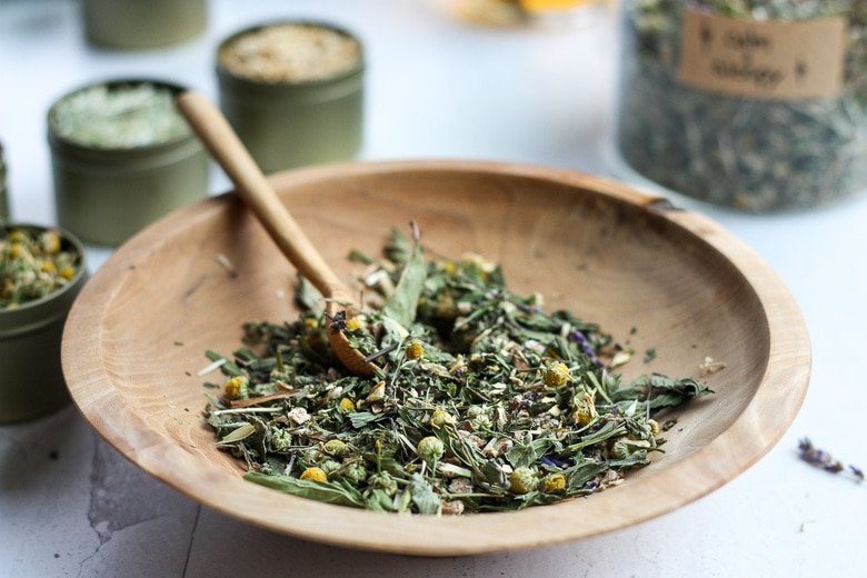 homemade herbal tea blend- mixed in a bowl