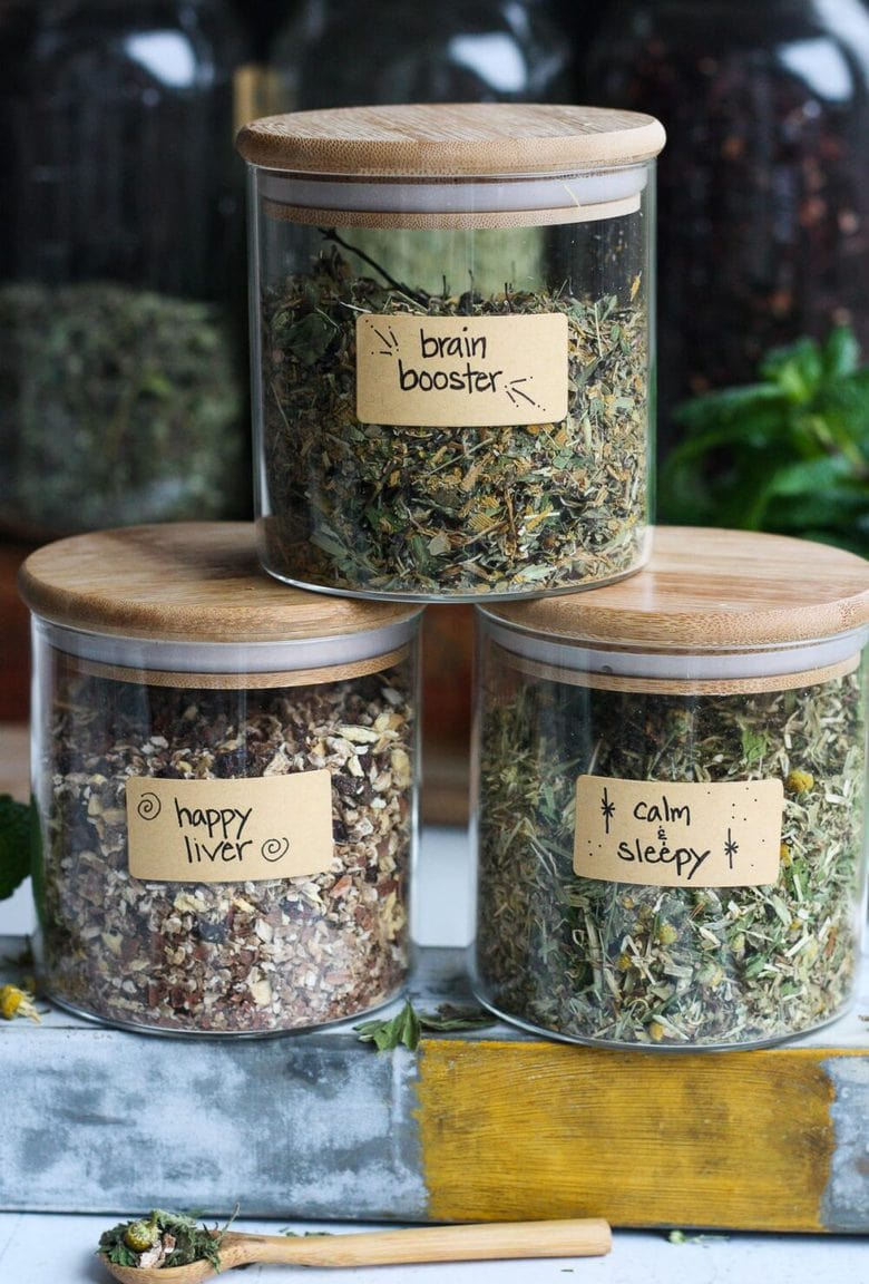 The Benefits of drinking Herbal Tea plus 3 Herbal Tea Recipes you can make at home for sleep, brain function and liver support. Easy and adaptable, these herbal tea blends are nutritive and soothing. #herbaltea #tea #herbtea