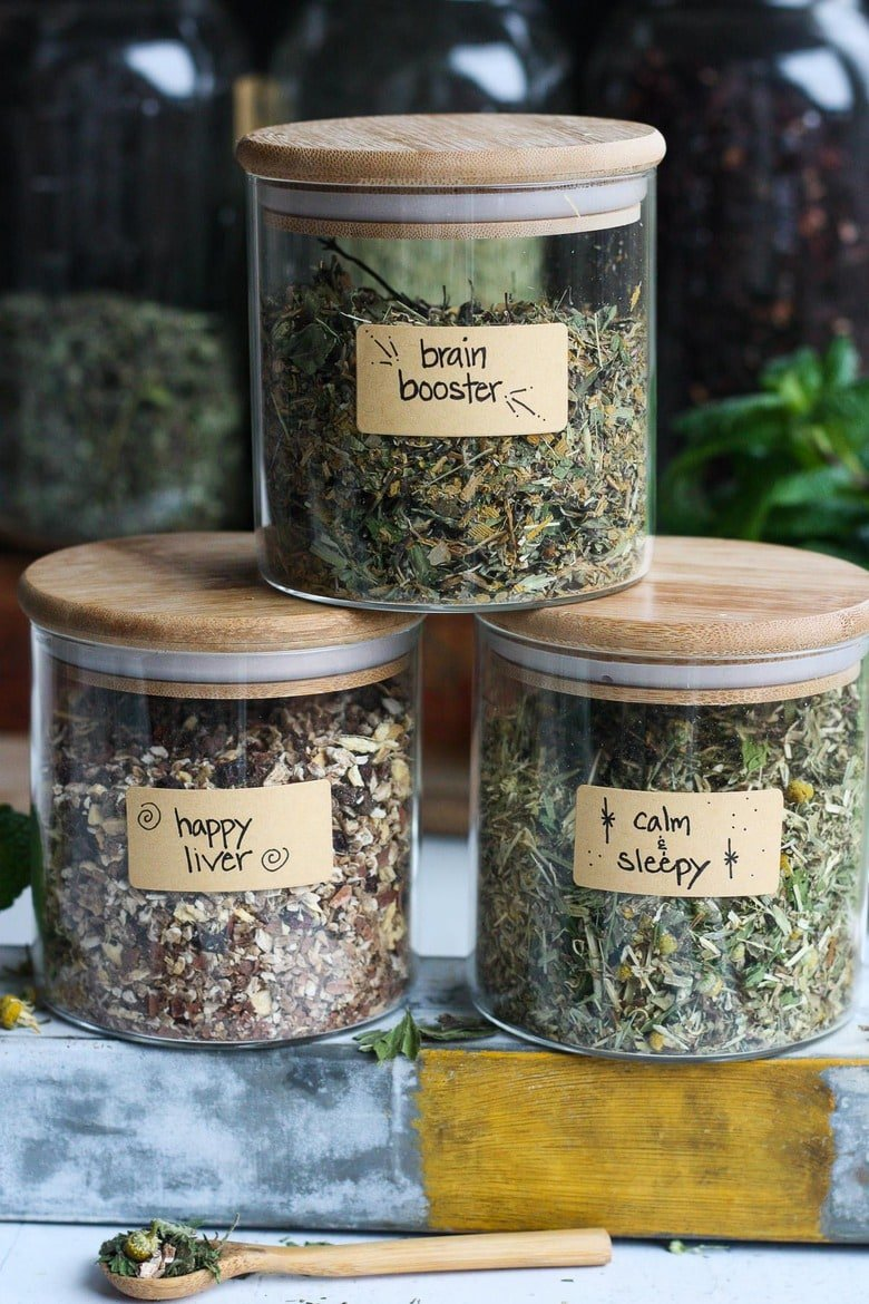 The Benefits of drinking Herbal Tea plus 3 Herbal Tea Recipes you can make at home for sleep, brain function and liver support. Easy and adaptable, these herbal tea blends are nutritive and soothing.#herbaltea #tea #herbtea
