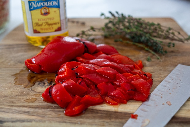 chop up and add the roasted peppers