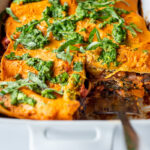 This Vegan Lasagna is made with a robust mushroom and spinach bolognese sauce, fresh basil, vegan ricotta and no-boil lasagna noodles, topped off with a creamy marinara sauce, drizzled with Arugula Pesto. Vegan comfort food at its tastiest!