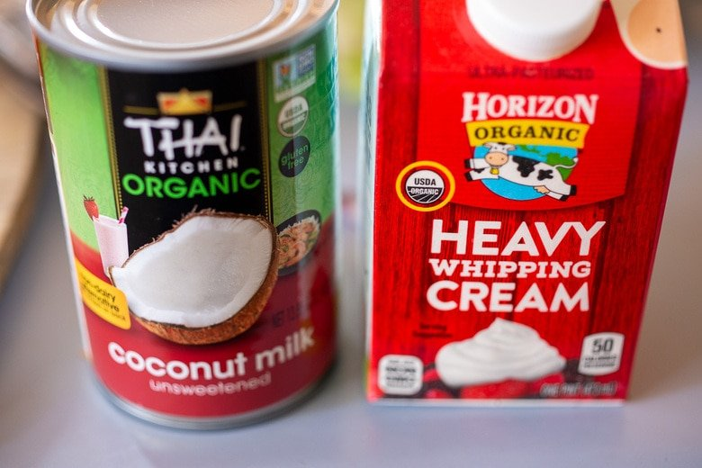 use your choice of cream or coconut milk