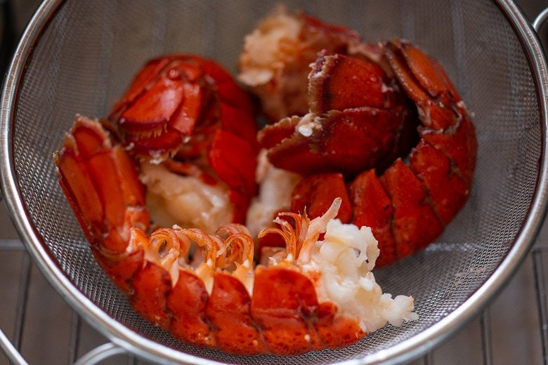 Peel the lobster tails