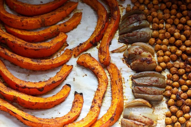 roasted squash, shallots and chickpeas