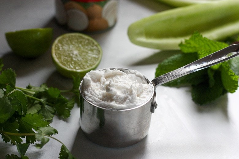 the sauce is made with coconut milk.