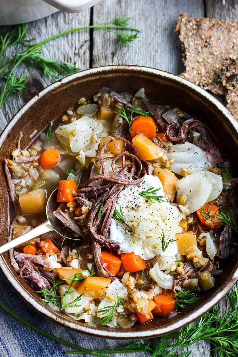 A simple comforting Irish Stew with Corned Beef and Cabbage! Deeply satisfying and quick to throw together. #Irishstew
