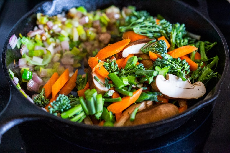 Vegetable Fried Rice, made with seasonal veggies! A highly adaptable recipe that can be made vegan, vegetarian or add chicken or shrimp.