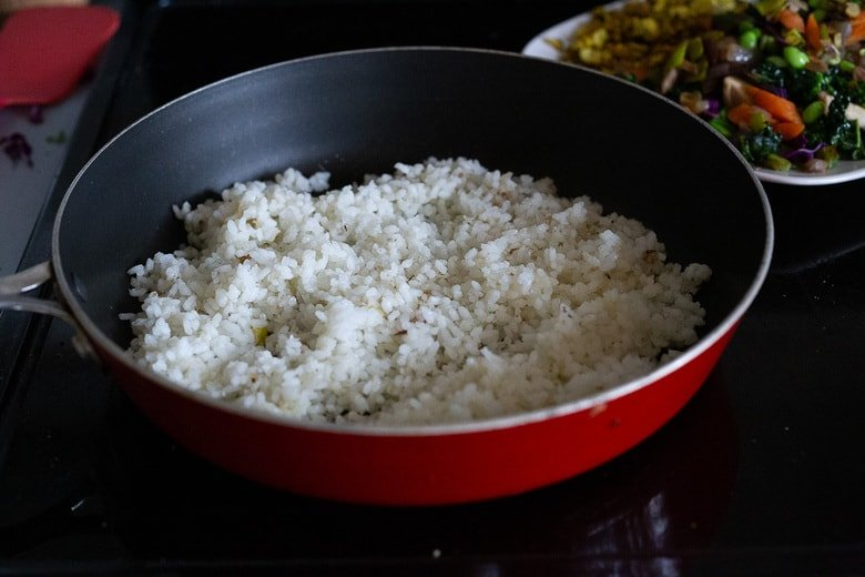When stir frying the rice- use a wide non-stick pan.