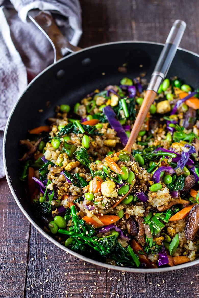 Vegetable Fried Rice, made with seasonal veggies and edamame! A highly adaptable recipe that can be made vegan, vegetarian or add chicken or shrimp.