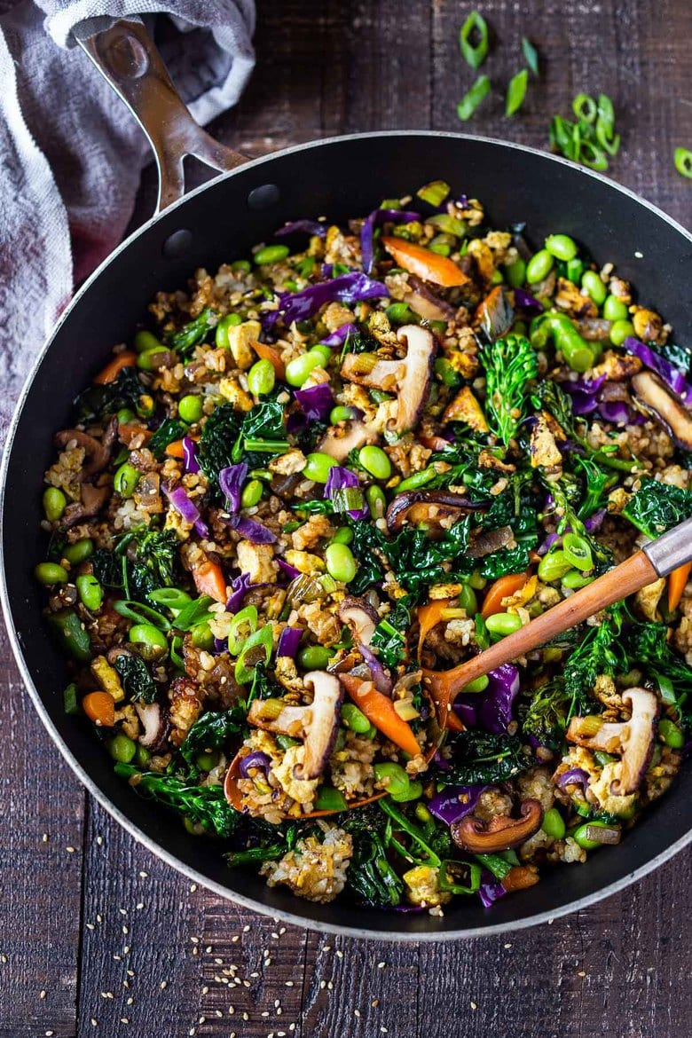 Farmers Market Fried Rice- loaded up with healthy vegetables, this easy Fried Rice recipe is very adaptable - make it vegan, vegetarian or add chicken or shrimp.