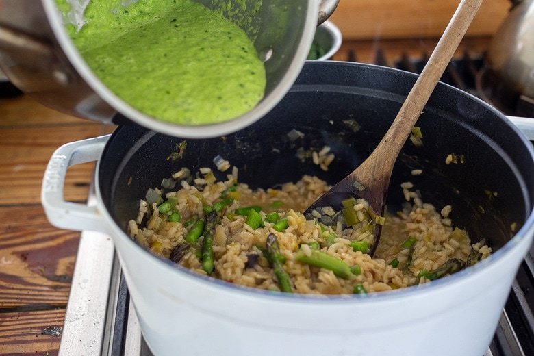 pour in the asparagus sauce