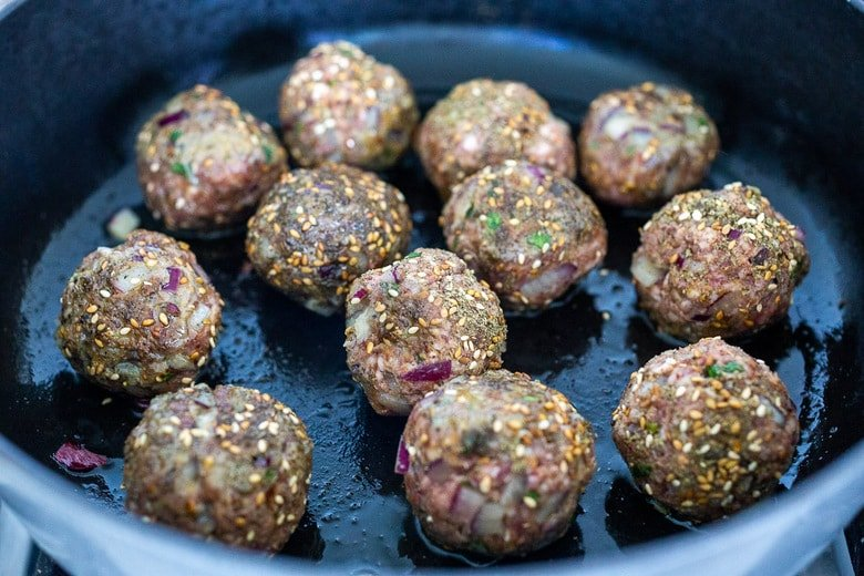 pan sear the Zaatar Meatballs in a skillet