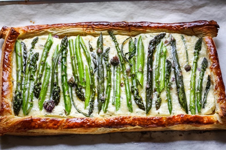 baked asparagus tart with golden puff pastry crust