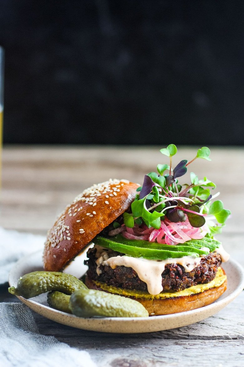Packed with nutritious ingredients, this Chickpea Quinoa Veggie Burger is full of savory delicious flavor and satisfying texture. Great with a variety of toppings. Vegetarian and Gluten-free, Vegan-adaptable! #veggieburger #chickpeaburger